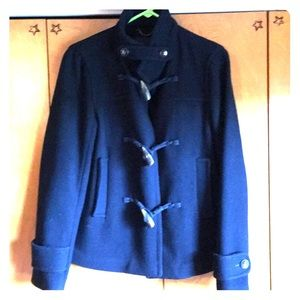 Short Navy wool toggle close cost